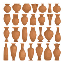 Ancient Bowls Decorative Clay. Vector Ceramic Rustic Vases Isolated On White Background, Earthenware Decorative Making Pots, Old Clay Jugs