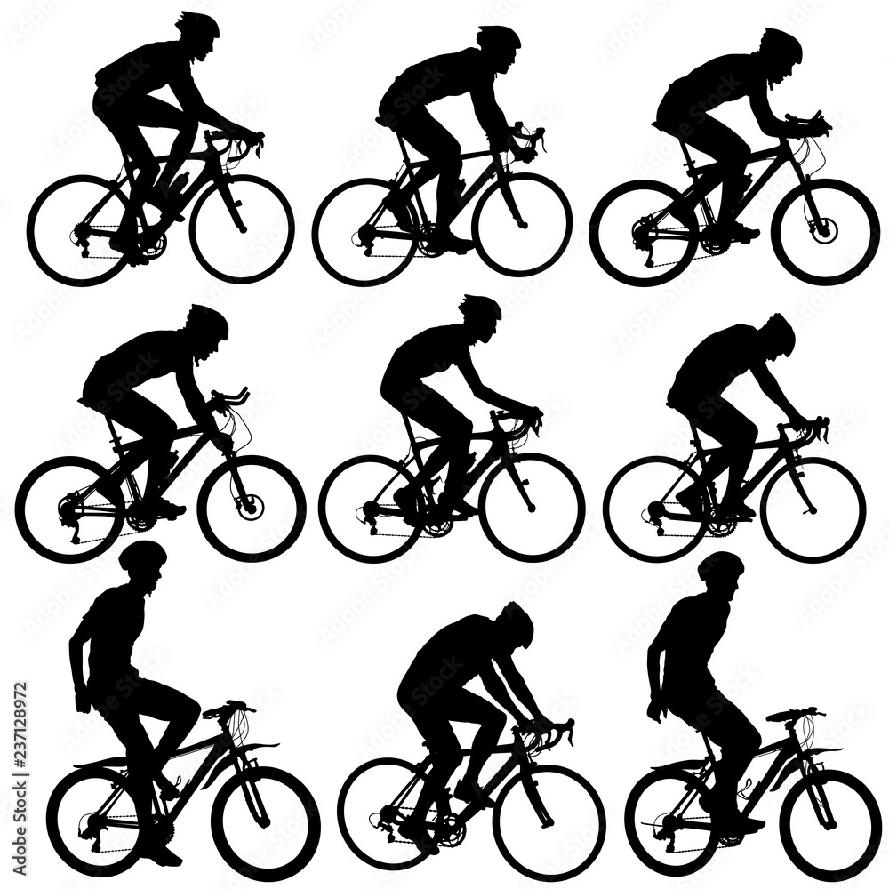 Fototapeta Set silhouette of a cyclist male on white background
