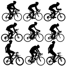 Set Silhouette Of A Cyclist Ma...
