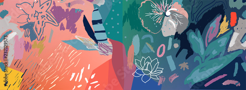 Floral background. Trendy Graphic Design for banner, poster, cover, invitation, placard, brochure, header. Abstract art
