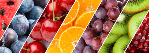 Poster Cuisine Background of mixed fresh fruits