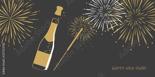 Fotografija happy new year greeting card with firework champagne and party sparkler vector i