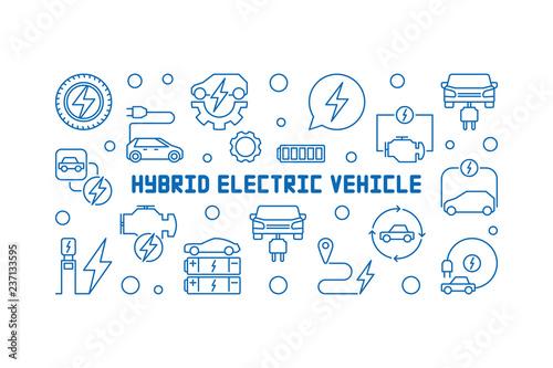 Foto  Hybrid electric vehicle horizontal line banner