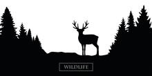 Wildlife Reindeer Silhouette Forest Landscape Black And White Vector Illustration EPS10
