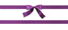 Mulberry Purple Bow Ribbon Band Magenta Satin Stripe Fabric (isolated On White Background With Clipping Path) For Holiday Gift Box, Greeting Card Banner, Present Wrap Design Decoration Ornament