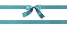 Teal Bow Ribbon Band Satin Blu...