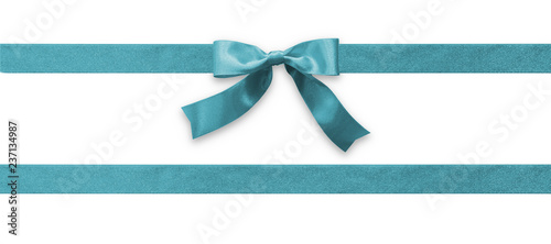 Teal bow ribbon band satin blue stripe fabric (isolated on white