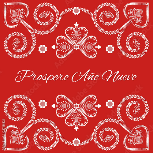 Fotografija  Folk art Christmas card vector template