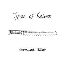 Knife Types, Slicer Serrated, Vector Outline Illustration With Inscription