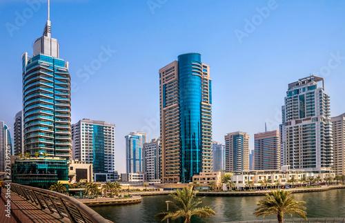General view of Dubai Marina. Line of the city skyline.