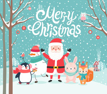 Cute Characters Hugging - Santa Claus, Squirrel, Rabbit, Penguin And Snowman. Merry Christmas Card.