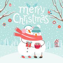 Cute Snowmen Couple Hugging. Merry Christmas Card.