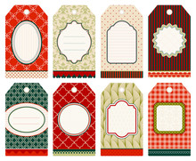 8 Retro Christmas Hangtags Beige/Red/Green