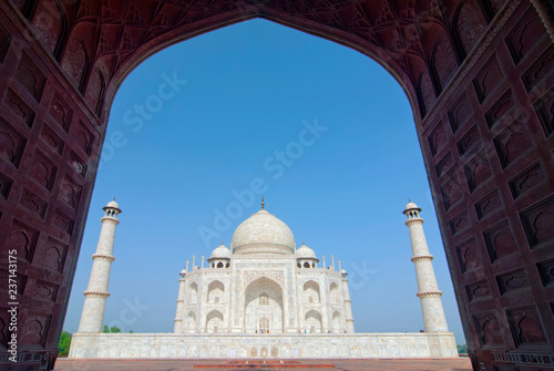 Taj Mahal View In Black Arch Silhouette From The Mosque In