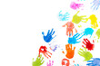 canvas print picture - Colored kids handprints on white background with copy space
