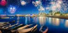 Beautiful Fireworks Above San Antonio Beach On Ibiza, Spain