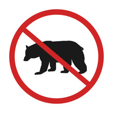 No Bear Warning Sing Vector Illustration  Allowed Prohibition Red Circle Warning Road
