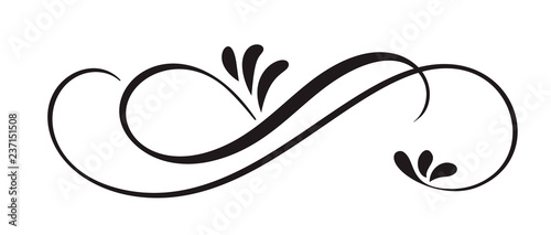 Hand Drawn Calligraphic Floral Spring Flourish Design Elements in style isolated on white background Fototapeta