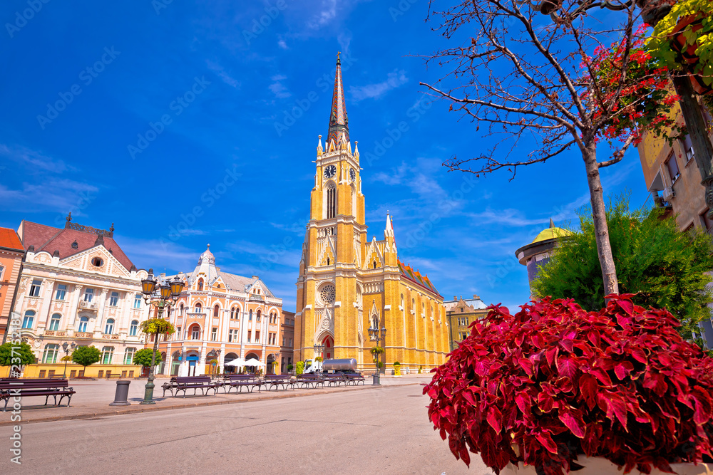 Freedom square and catholic cathedral in Novi Sad view