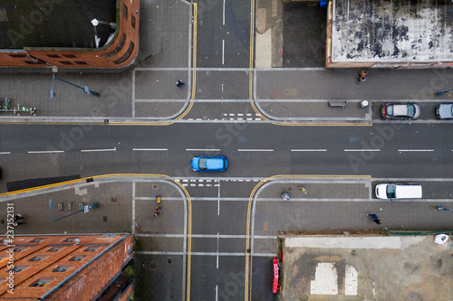 Photo  Aerial view of a crossroad junction in a town in the UK
