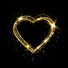 Heart With Gold Light. Glitter Golden Heart Frame With Space For Text. Happy Valentines Day Card With Glowing Heart. Bright Glittering Star Dust. Festive Border. Vector Illustration