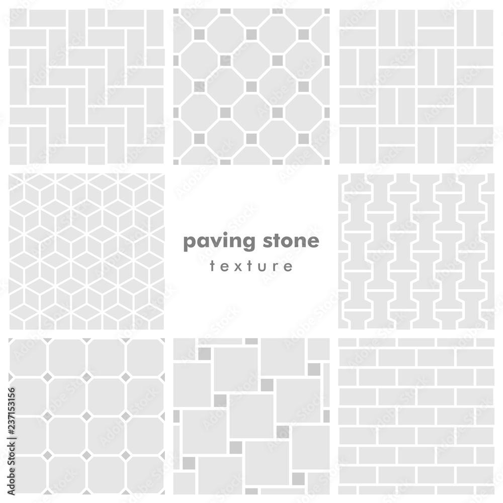 Fototapeta Set of eight paving stone seamless patterns