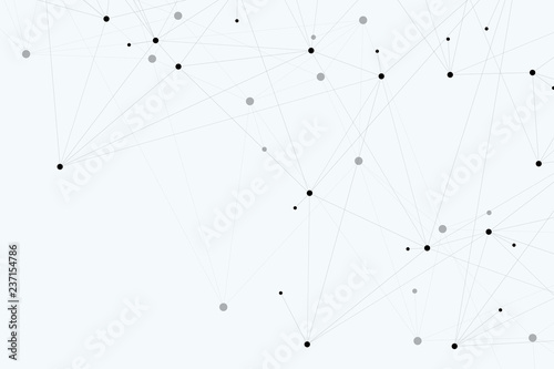 Foto op Canvas Paardebloemen en water Abstract polygonal background with connected lines and dots. Minimalistic geometric pattern. Molecule structure and communication. Graphic plexus background. Science, medicine, technology concept