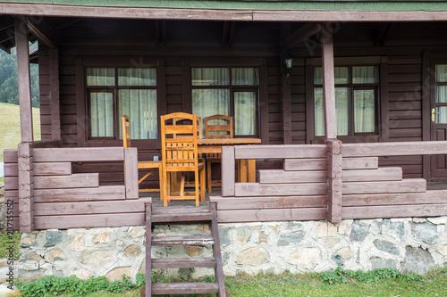 Photo  The Veranda of a Wooden House