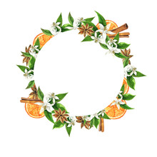 Orange Flowers, Fruit And Leaves Frame Witn Anise Stars And Cinnamon Isolated On White Background. Hand Drawn Watercolor Illustration.