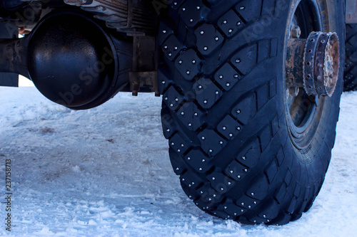 Fotografie, Obraz  Studded tires on snow