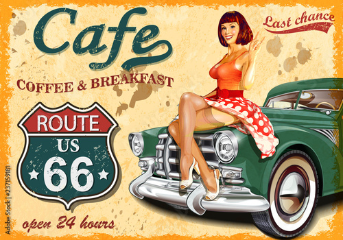 Cafe route 66 vintage poster Canvas Print