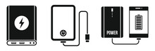 Charger Power Bank Icon Set. S...