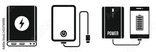 Foto Charger power bank icon set