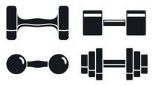 Gym Dumbell Icon Set. Simple S...