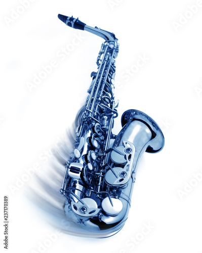blue jazz saxophone with swing movement Wallpaper Mural