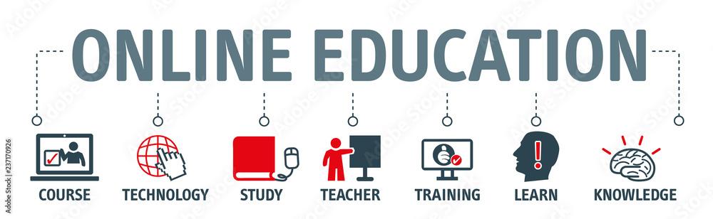 Fototapeta online learning vector illustration concept banner