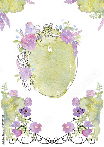 Greeting card with forged frame, flowers, birds and watercolor splash Fototapete