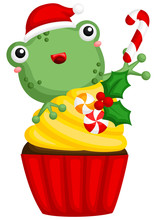 A Vector Of Cute Little Frog Behind A Sweet Christmas Cupcake