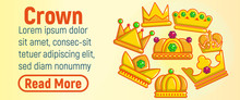 Crown Concept Banner. Cartoon Banner Of Crown Vector Concept For Web, Giftcard And Postcard