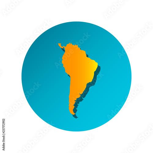 Fotografía  Vector illustration card with orange silhouette of South America