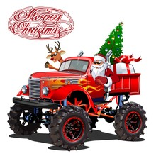 Vector Christmas Card With Cartoon Retro Christmas Monstertruck