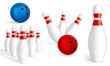 Bowling Icon Set. Realistic Se...