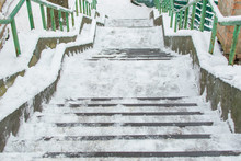 Stairs On The Street Covered W...