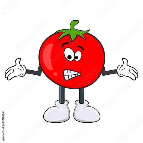 Funny tomato character cartoon design isolated on white background
