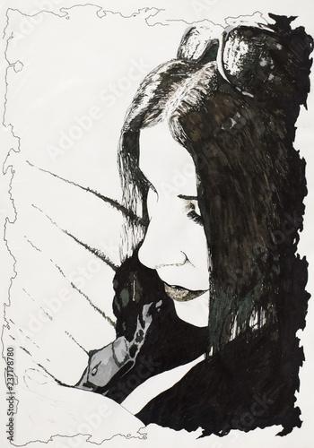 Portrait of a girl tilted her head Tapéta, Fotótapéta