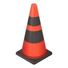 Red Black Road Cone Icon. Isom...