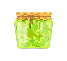 Lime Or Lemon Home Cooked Jam Or Marmalade In Jar