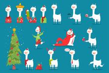 Cute Christmas Llama In Santa ...