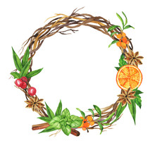 Christmas Wreath Witn Buckthorn Branch, Cinnamon, Fresh Orange, Anise Stars, Red Berry And Green Leaves Isolated On White Background. Hand Drawn Watercolor Illustration.