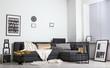 Leinwandbild Motiv Stylish interior of room with comfortable sofa and golden decor